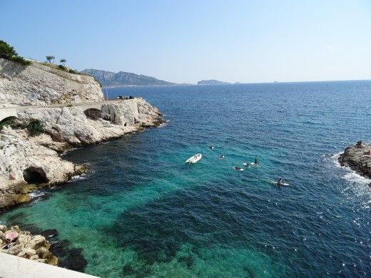 The rugged headland areas near Nice, France, provide ideal swimming and diving and snorkelling areas. Beautiful clear water