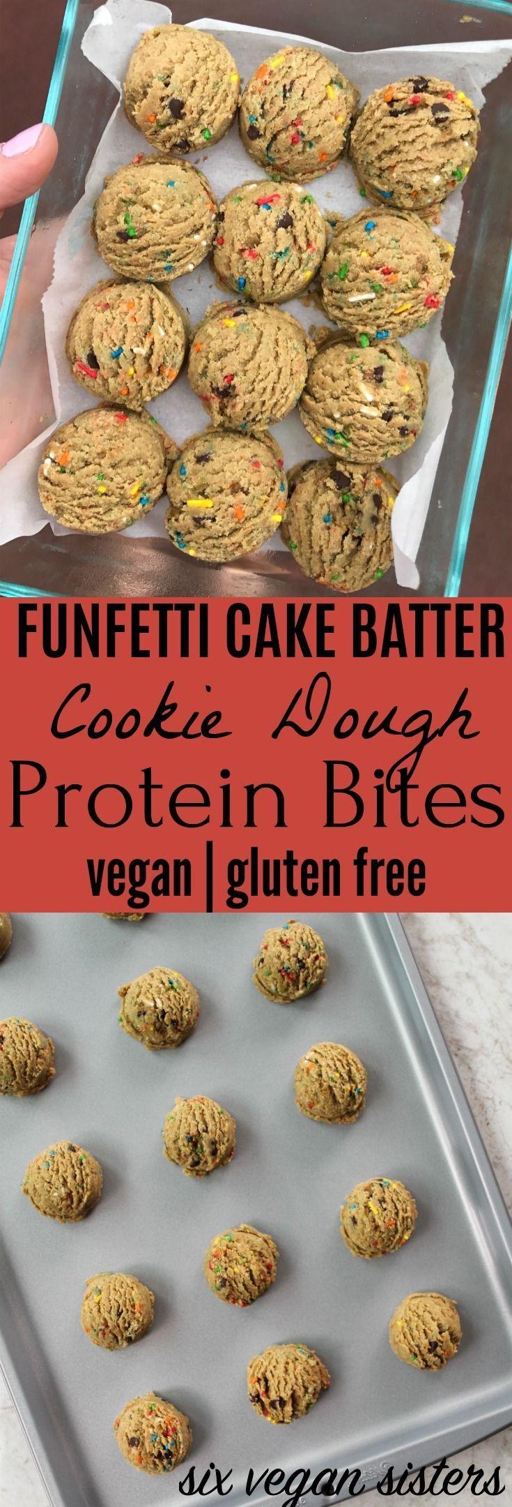 Funfetti cake batter cookie dough protein bites vegan