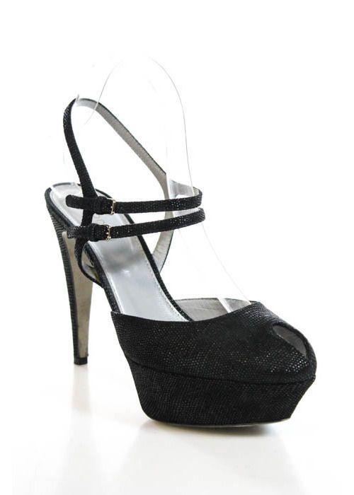 Sergio Rossi Woman Patent-leather Platform Sandals Black Size 39.5 Sergio Rossi ToxbYSN8