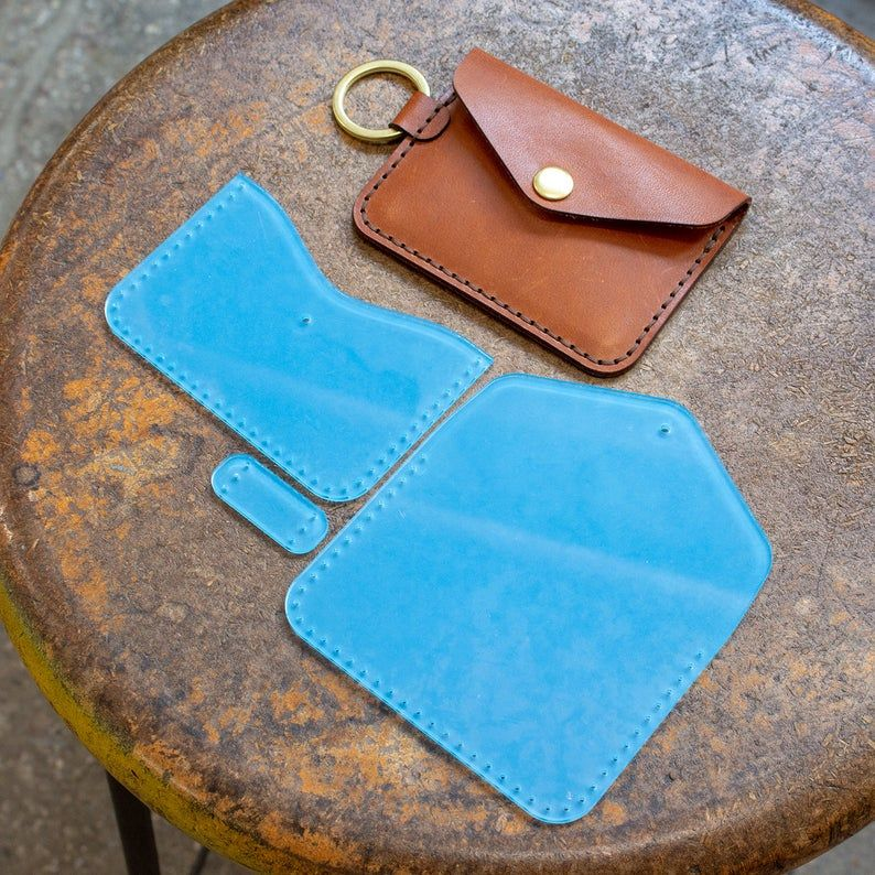 Leather Keychain Snap Wallet Acrylic Template Set – Digital Leatherworking Pattern – Build Along Video Tutorial