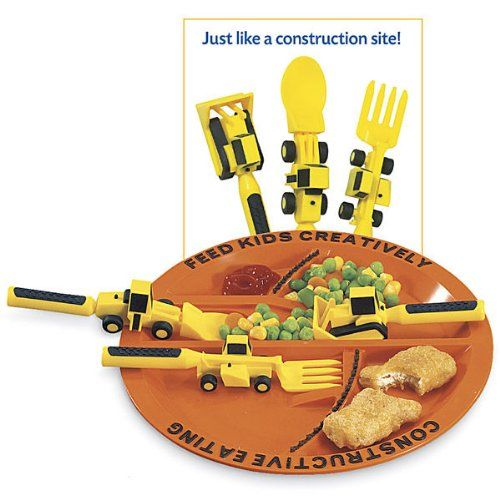 Constructive Eating - Construction Eating Plate u0026 Utensil Set - My Traveling BabyMy Traveling Baby  sc 1 st  Pinterest & Constructive Eating - Construction Eating Plate u0026 Utensil Set - My ...