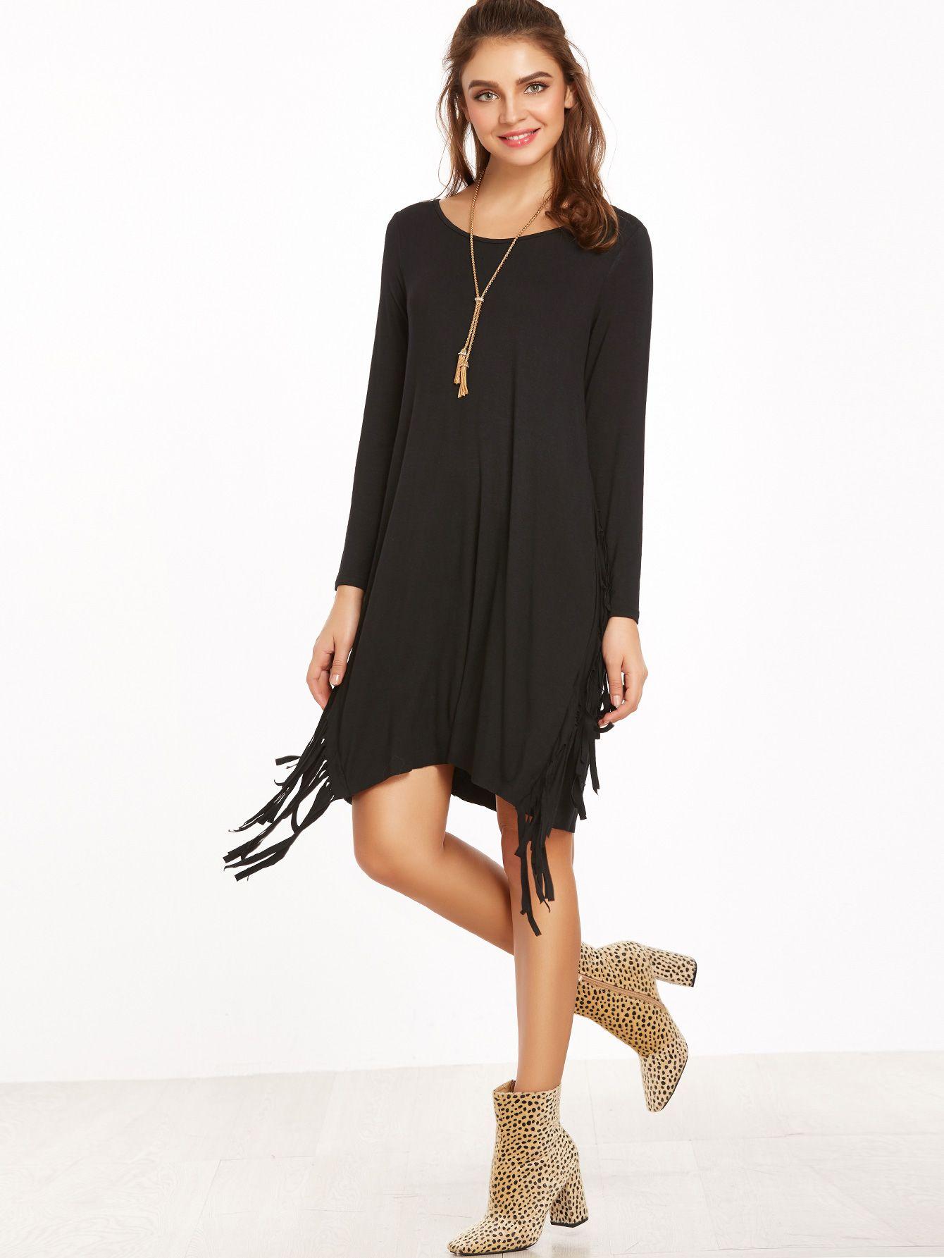 Shop Black Long Sleeve Fringe Dress Online Shein Offers Black Long Sleeve Fringe Dress More To Fit Your Fashionabl Black Fringe Dress Dresses Tshirt Outfits [ 1785 x 1340 Pixel ]