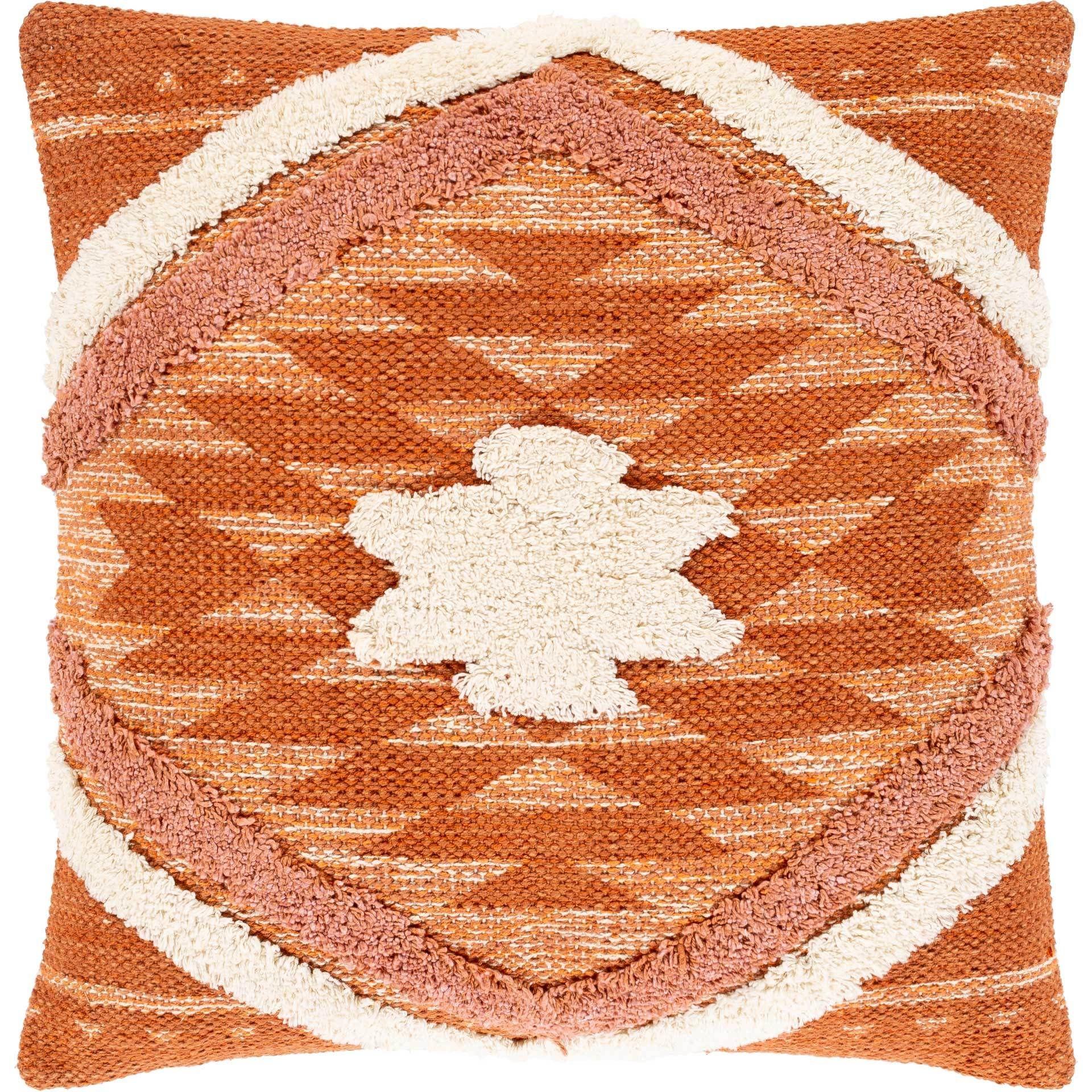 Lacey Pillow Beige Burnt Orange Bright Orange Throw Pillows Cotton Throw Pillow Boho Rug