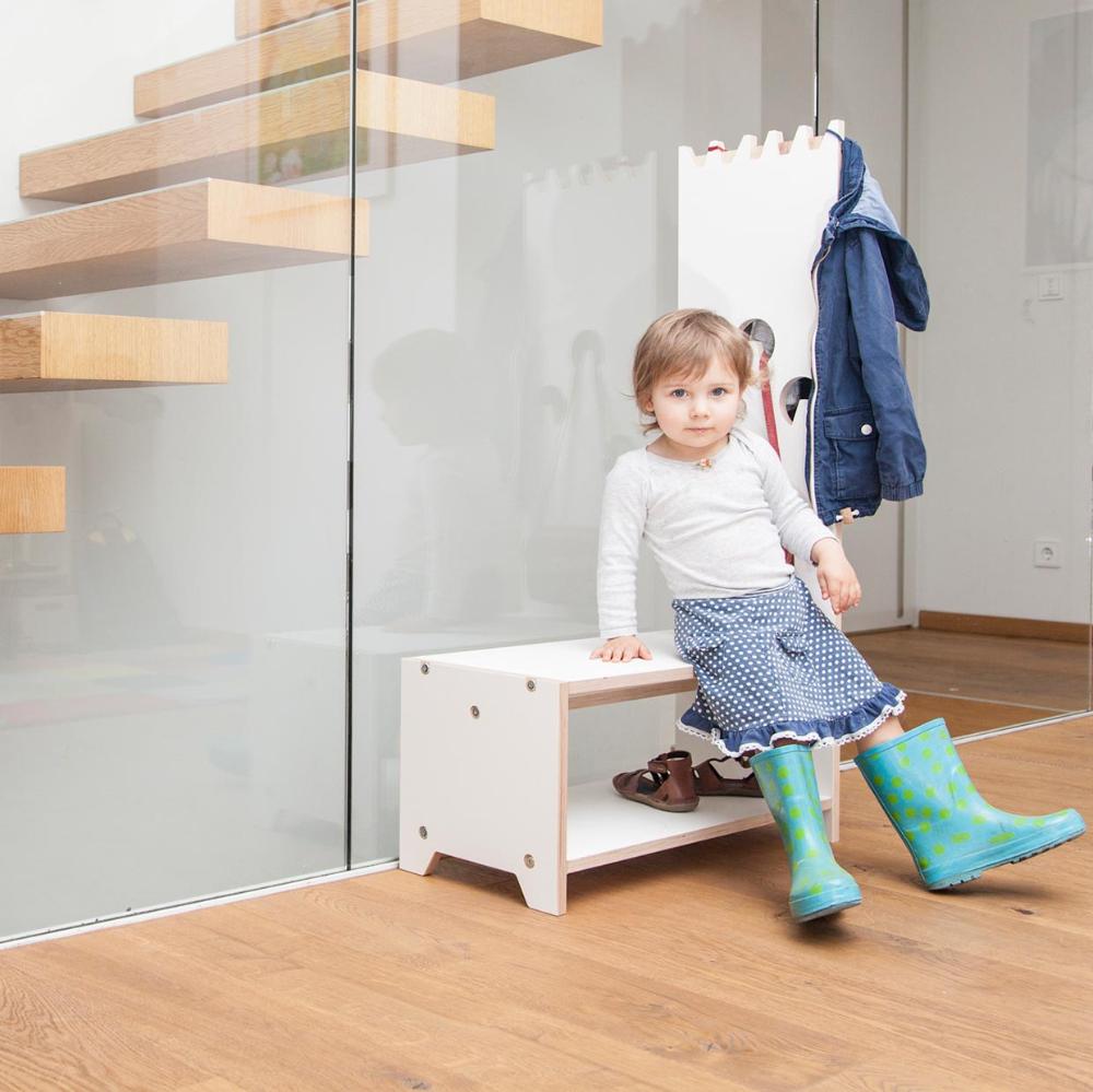 Dete white children's wardrobe by Prinzenkinder (1