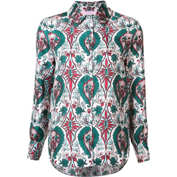 Ladoublej Editions Rosa boy shirt (8,205 MXN) ❤ liked on Polyvore featuring tops, green, silk shirt, shirt top, green silk top, silk top and green shirt