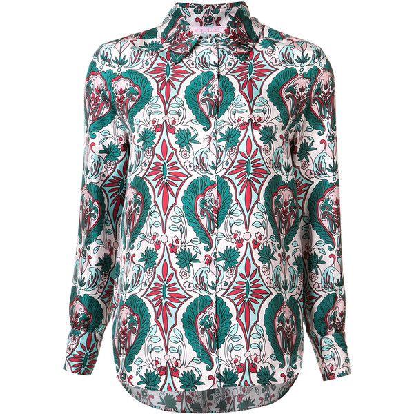 Ladoublej Editions Rosa boy shirt (8,205 MXN) ❤ liked on Polyvore featuring tops, green, silk shirt, shirt top, green silk top, silk top and green shirt