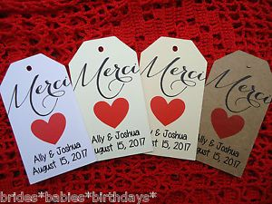 10-Kraft-Gift-Tags-Wedding-Favour-Bomboniere-Personalised-MERCI