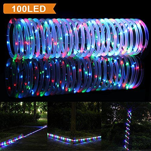 Lte 33ft 100 Led Solar Rgb Rope Lights Outdoor Waterproof Solar