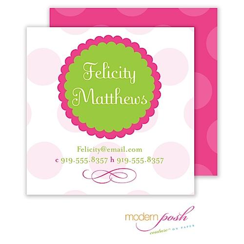 Pink Dot Posh Calling Card Pink & Green Calling Card