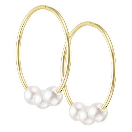 10k Yellow Gold Sleeper Hoop Earrings with Pearls for sale at Walmart Canada. Buy Jewellery & Watches online at everyday low prices at Walmart.ca