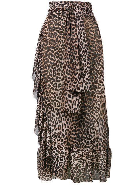 Mesh Peirce Ganni Leopard skirt cloth Skirt ganni Print w5HqxvH6A