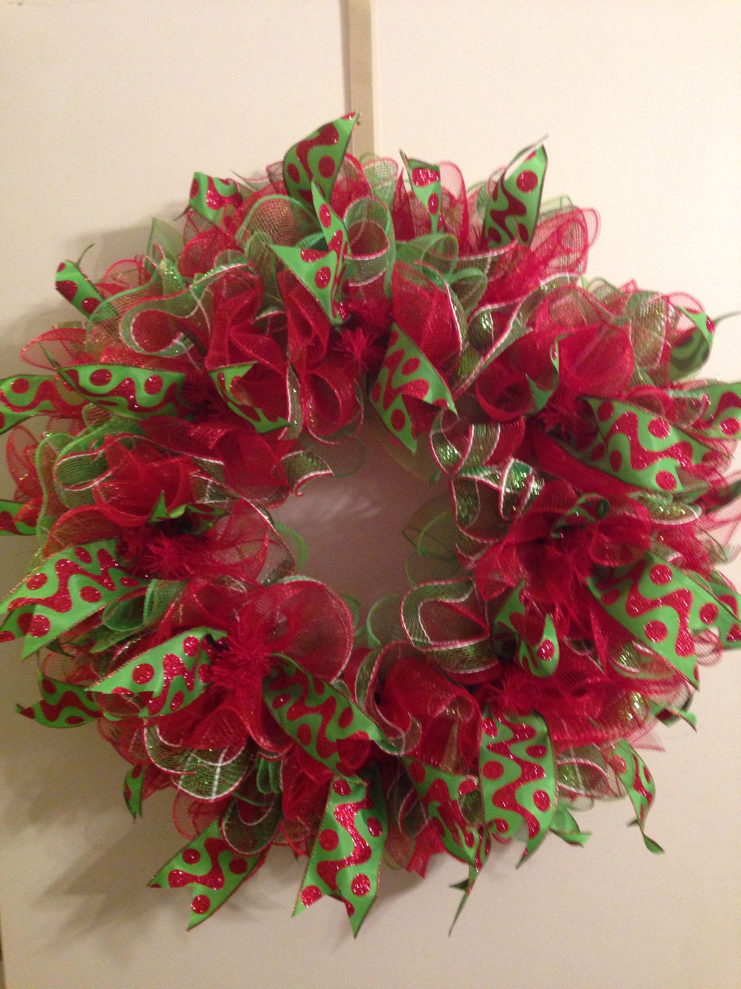 Christmas ruffle deco mesh wreath. Christmas mesh