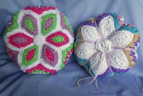 Crochet Flower Pillow Pattern Star Applique Flower Pincushion
