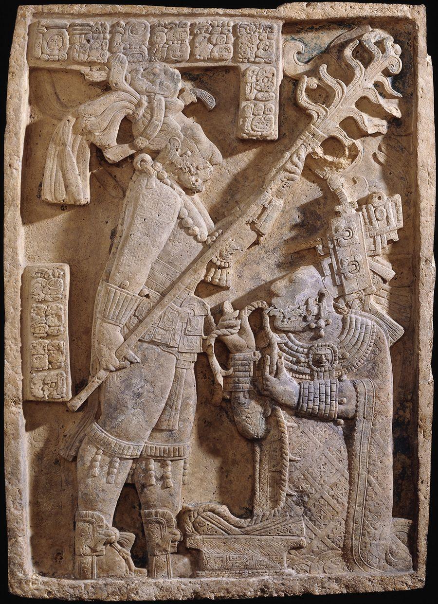 Escudo Jaguar Y Dama Xoc Ritual Maya De Sangrarse La Lengua Yaxchilan British Museum London Geschiedenis Mysterie