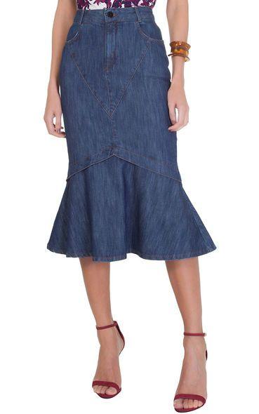 306489f372 Saia jeans mídi rabo de peixe Maria Filó