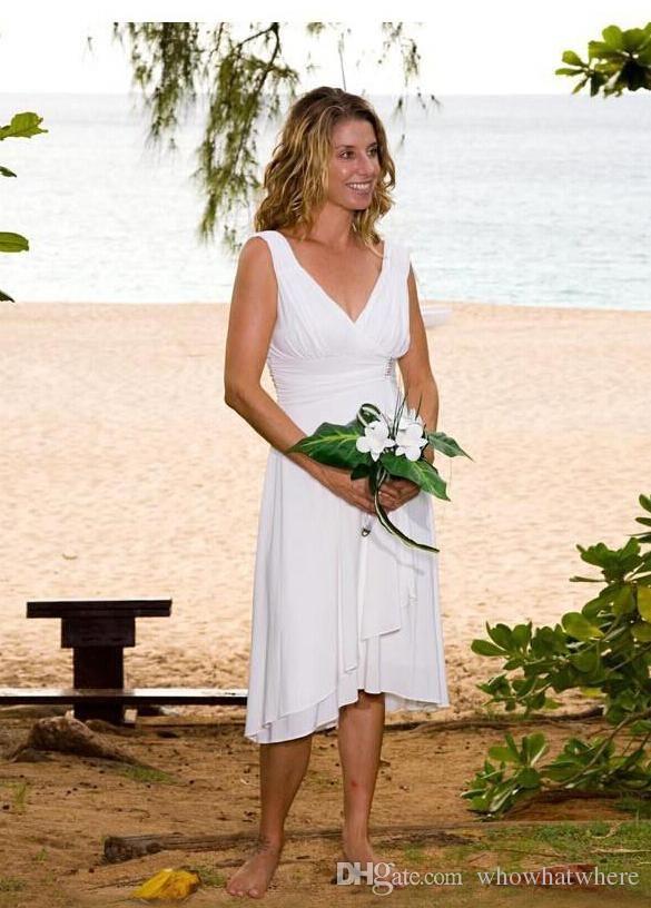 Dress Wedding Simple White Short Beach Wedding Dresses V Neck Open Back Summer Short Wedding Dress Beach Simple Wedding Dress Beach Casual Beach Wedding Dress