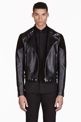 4 190 Givenchy Black Ribbed Leather Biker Jacket Black Leather Biker Jacket Mens Leather Bomber Jacket Leather Jacket Men