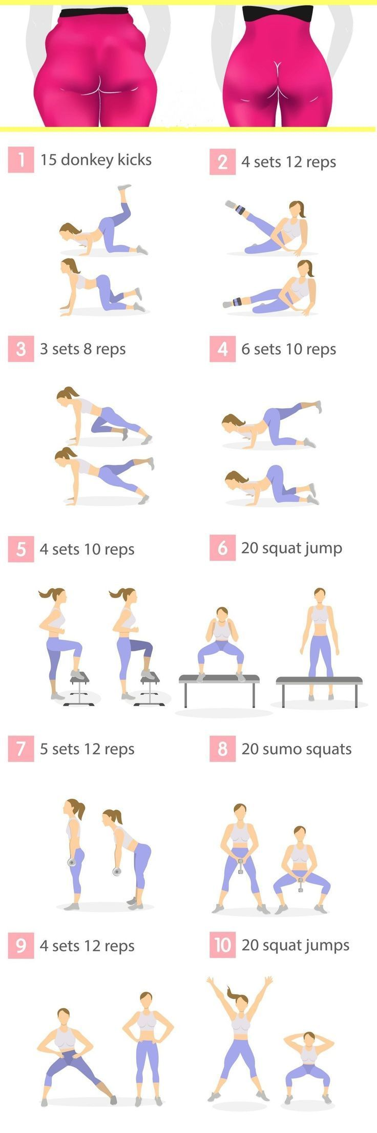 Do these 10 butt exercises every day, as an extra workout to your regular fitnes…