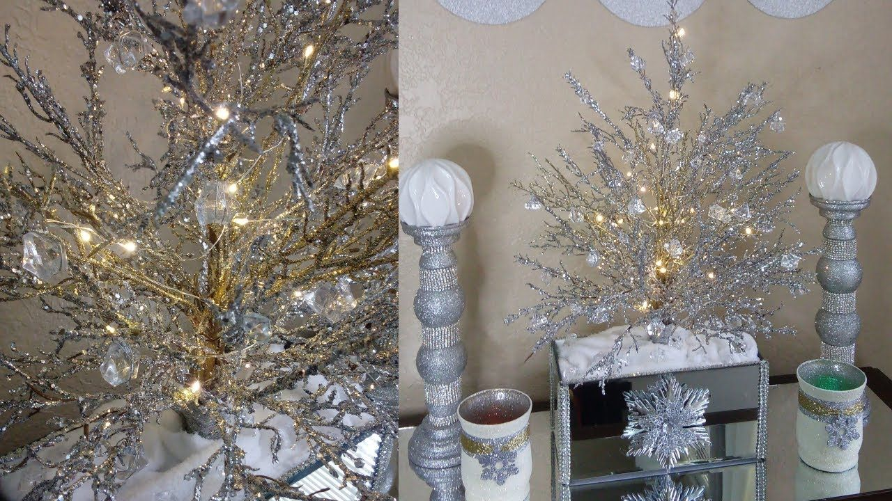 Diy Glitter And Crystal Tree Diy Glam Holiday Room Decorating Ideas Youtube Glam Christmas Decor Glam Christmas Tree Dollar Tree Christmas Decor