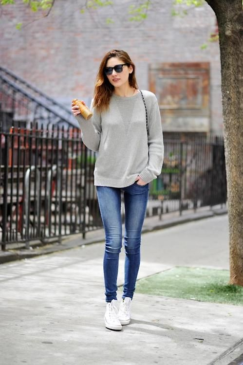 ebf15ba2b78d Love the high tops with skinny jeans. I need to wear something like this  when it gets colder.