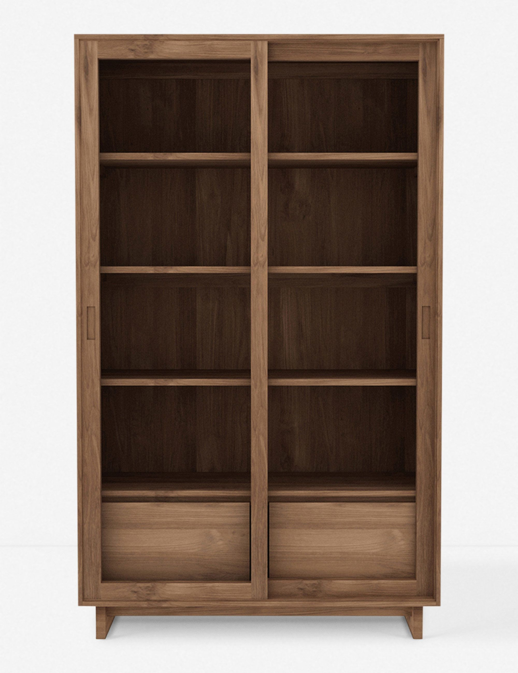 Cutout Details Make The Drawers On This Bookshelf Pop Creating Cool Dimension For An Understated Glass Cabinet Doors Sliding Glass Door Living Room Wall Units