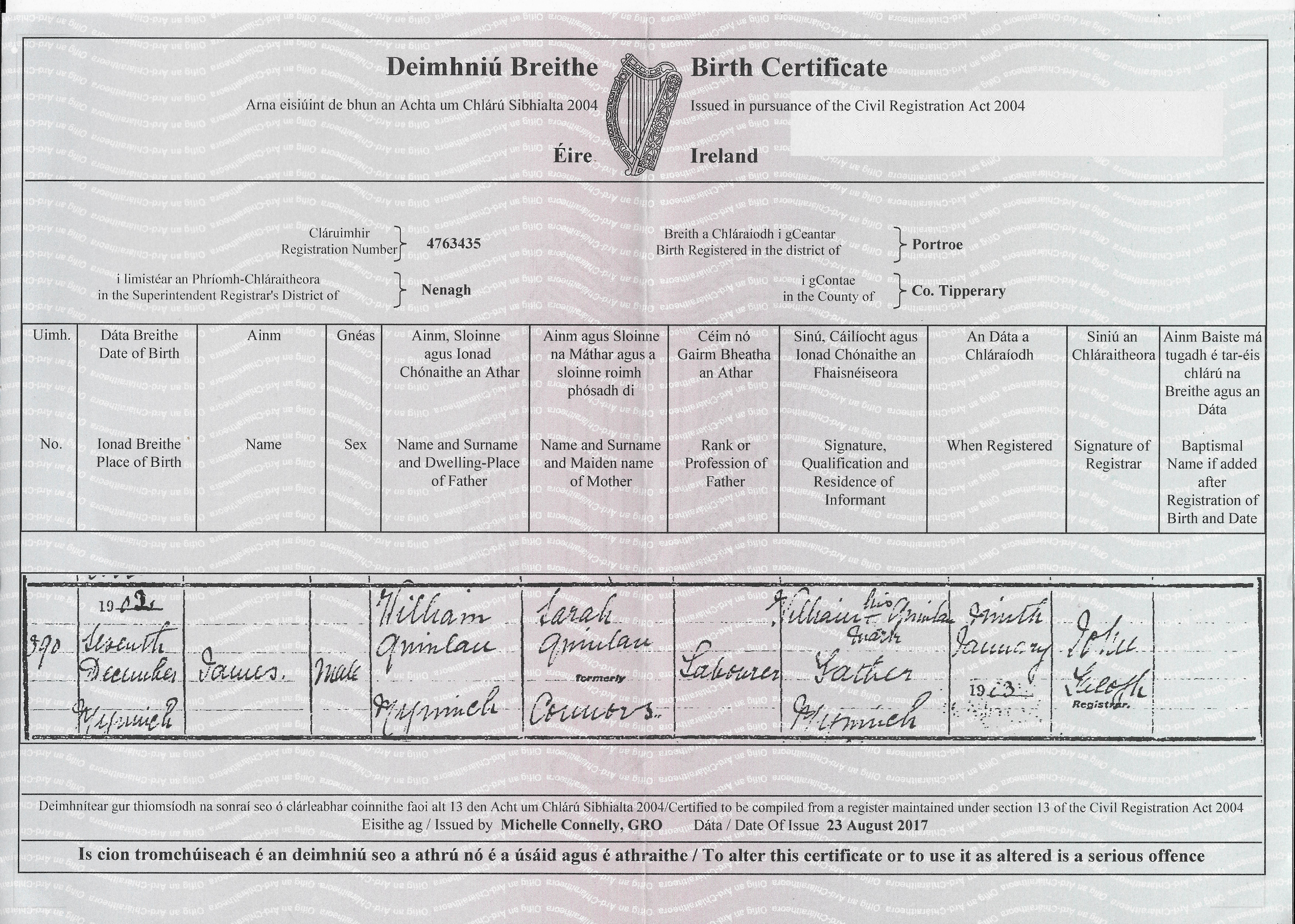 Josephines birth certificate dob saturday september 29th 1905 birth certificate aiddatafo Image collections