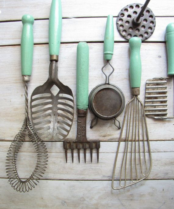 the greens kitchen tools vintagey and the mint green collection 6057