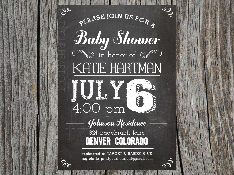 Chalkboard Vintage Baby Shower Invitation Rustic. $13.50, via Etsy ...