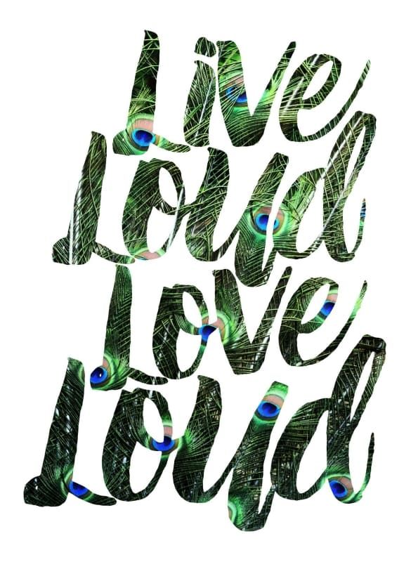 """Marmont Hill MH-ROBDIC-158-C-32 32 Inch x 32 Inch """"Live Loud Love Loud"""" Giclee Home Decor Wall Decor Canvas Art"""