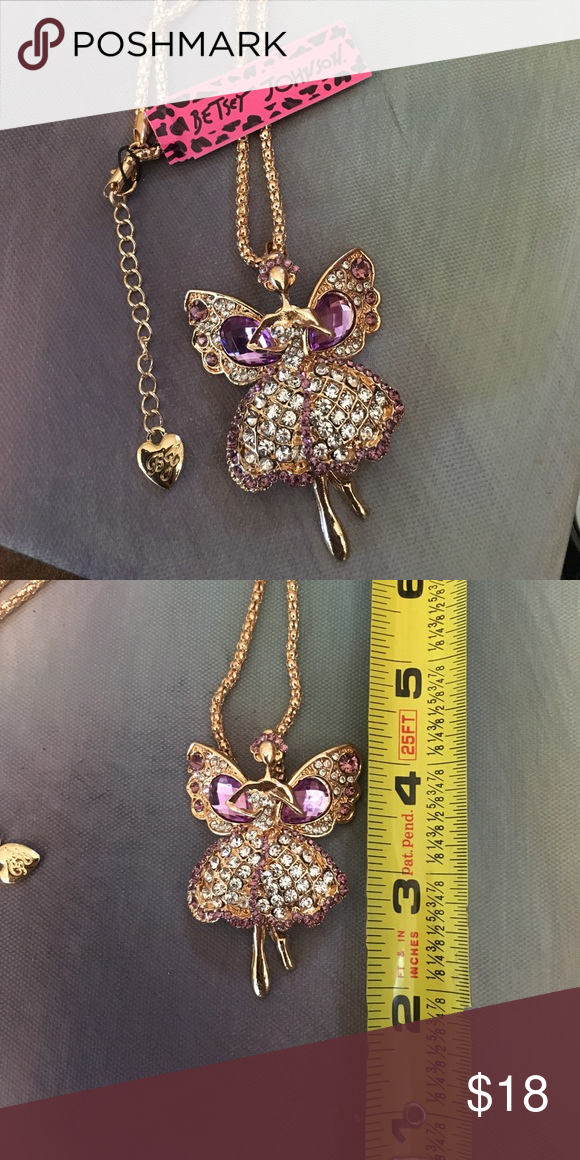 Betsey Johnson Purple Crystal Angel Necklace Brand new!! Gorgeous ...