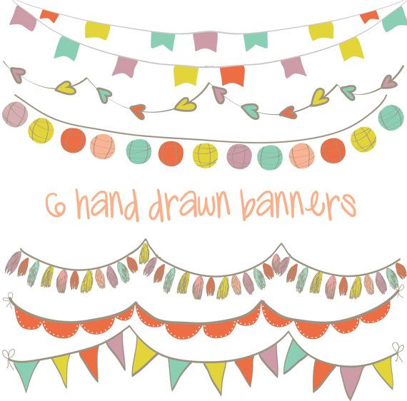 set of 6 high resolution digital colorful hand drawn party banners clipart banner clip art png files design elements bunting hand lettering