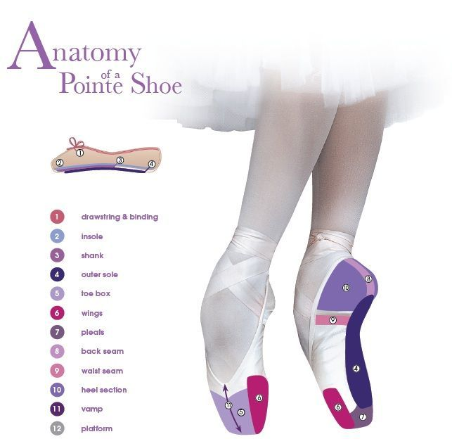 For you non dancers and beginners, the Anatomy of a Pointe Shoe, courtesy of Russian Pointe
