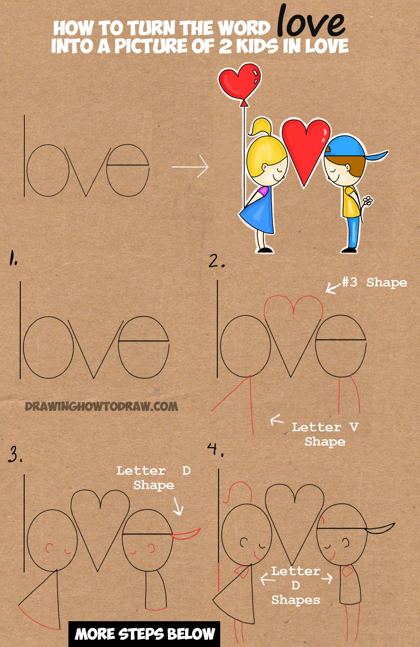 How To Draw Cartoon Kids In Love From The Word Love In This Easy Words Cartoon Drawing Tutorial For Kids How To Draw Step By Step Drawing Tutorials Word Drawings