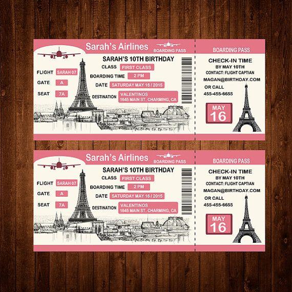 Custom Boarding Pass Birthday Invitation by TSNDigitalDesigns - airline ticket invitation