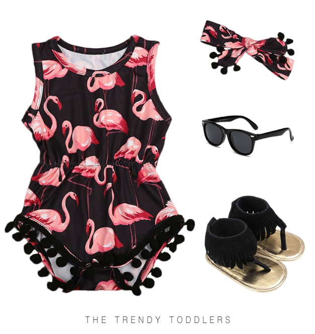 Your baby girl will look just super stylish in this sweet outfit, complete with a flamingo tassel romper, matching headband, black sandals and sunglasses