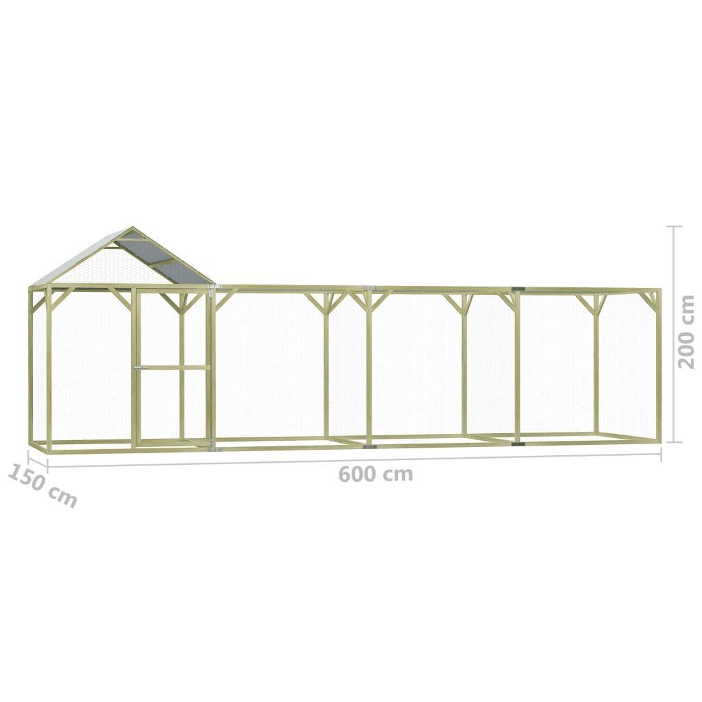 vidaXL Chicken cage 6×1.5×2 m impregnated pine