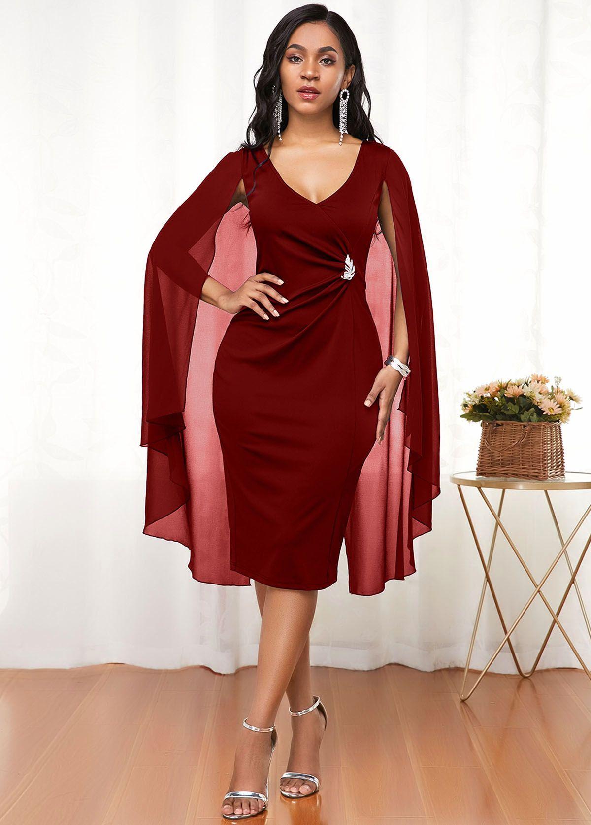 Cape Shoulder V Neck Wine Red Dress Rosewe Com Usd 30 90 In 2020 Cape Dress Pattern Dresses Wine Red Dress