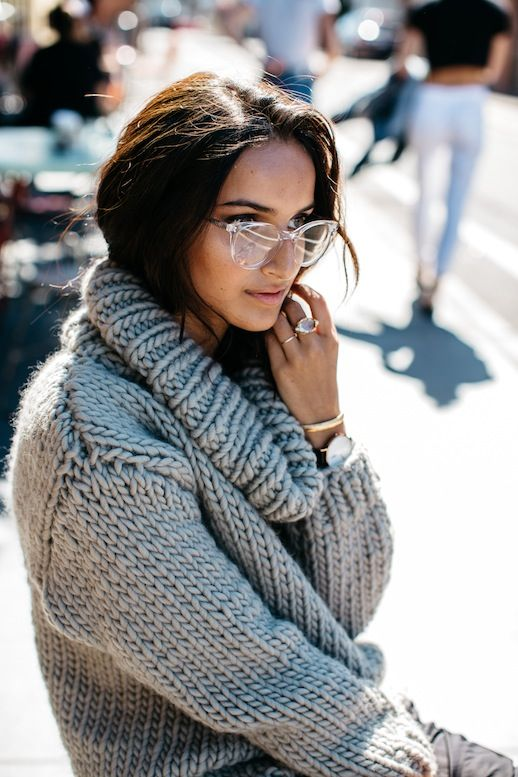 d1c74c1197 Le Fashion Blog Casual Fall Style Clear Oversized Glasses Grey Chunky  Turtleneck Knit Via She Be The Sound