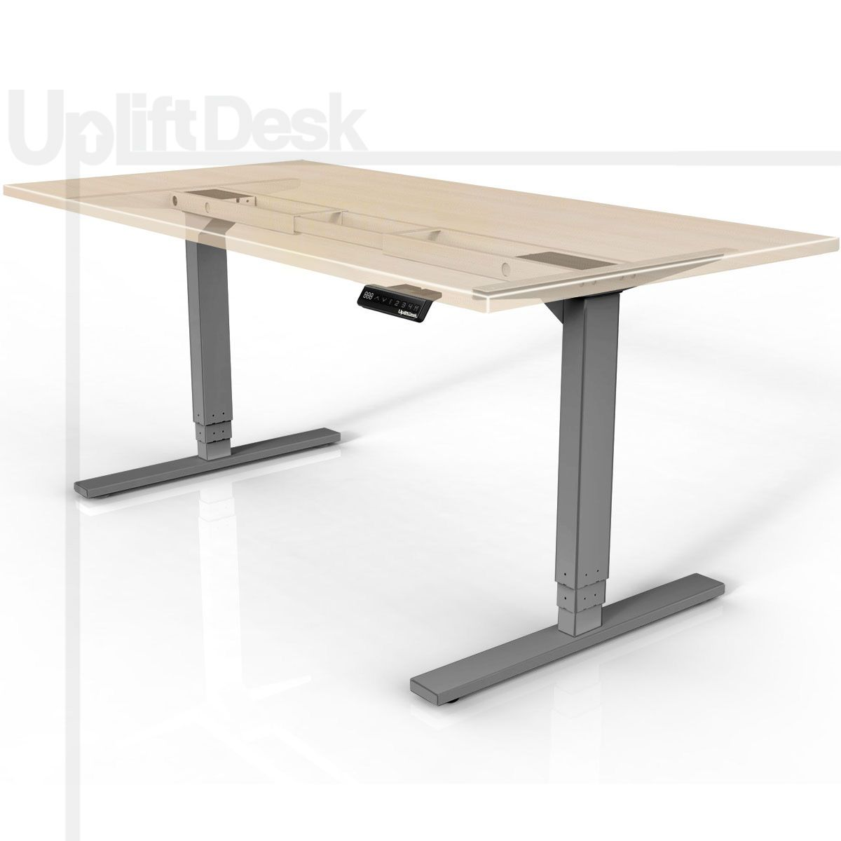 The Uplift 900 Sit Stand Ergonomic Desk Silver Is A Sturdy Affordable Electric Adjustable Adjustable Height Desk Sit Stand Desk Adjustable Diy Standing Desk