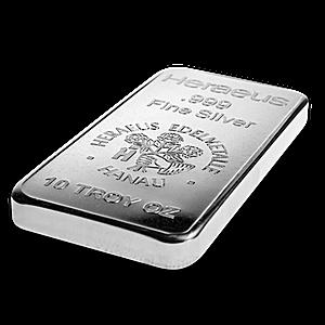 Heraeus Silver Bar 10 Oz Vat Free Silver Bars Silver Investing Silver