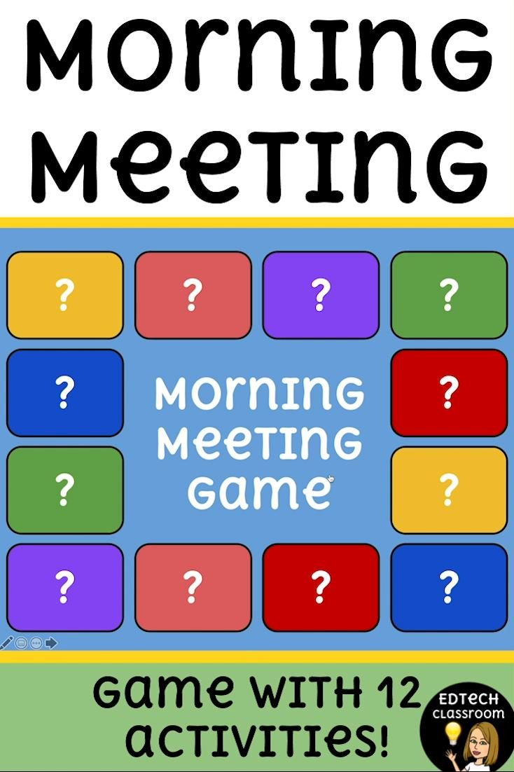 12 Morning Meeting Activities in a game-style format that students LOVE! This distance learning Morning Meeting game is a hit with my students! Students can click a button to discover their brain break / share / SEL challenge. All based on Responsive Classroom teaching! This product includes: Step-by-step directions on how to use it 12 morning meeting activities in a game-style format Powerpoint AND Google Slides options! NO PREP. Distance learning, remote learning, SEL, classroom community