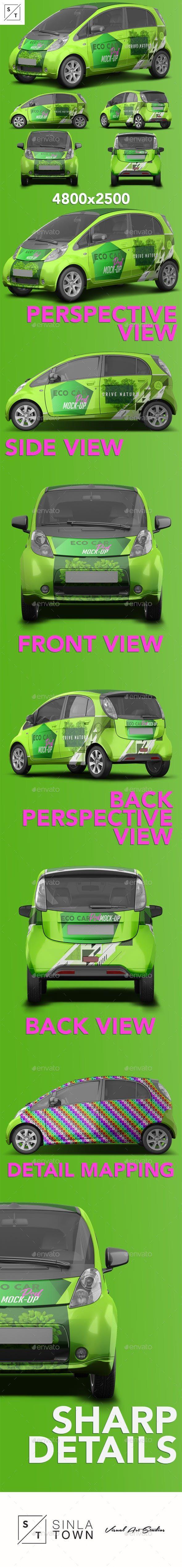 Realistic Electric Car PSD Mockup Product MockUps