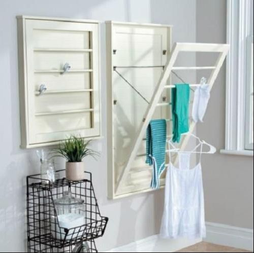 Wall Mounted Drying Racks For Laundry Room Wall Mount Drying Rack Laundry Room Space Saver Wooden Storage