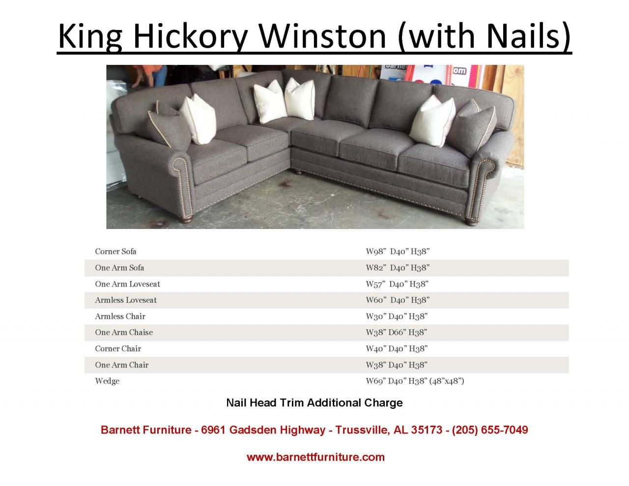 King Hickory Winston Sectional With Nail Head Trim You Choose The Pieces To Fit Your