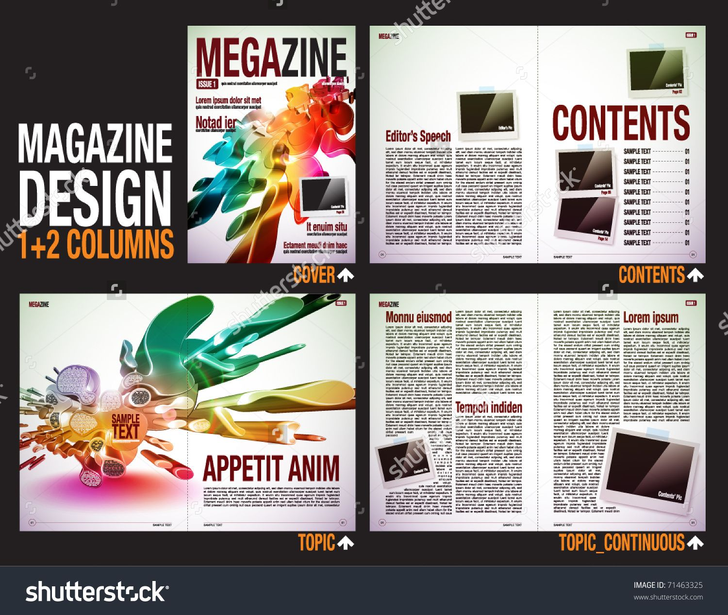 Magazine layout design template with cover 6 pages 3 spreads magazine layout design template with cover 6 pages 3 spreads pronofoot35fo Choice Image