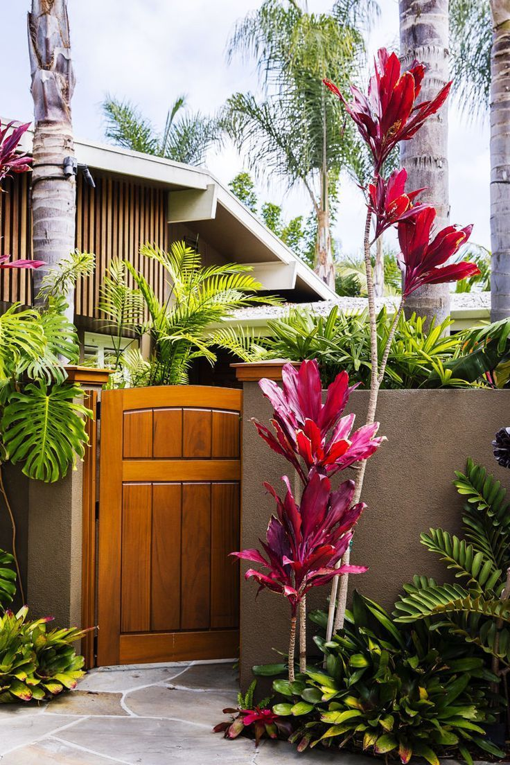 Outdoor Gates to Add Curb Appeal to Your Home is part of Tropical garden design, Tropical landscaping, Tropical backyard, Outdoor gate, Tropical garden, Backyard landscaping - Make sure your welcome is its warmest with these outdoor gates that amp up the curb appeal of your garden and front yard