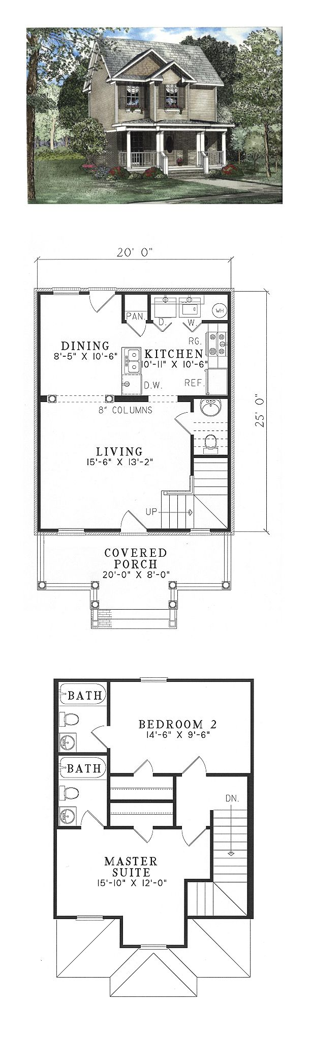 Narrow lot house plan 62323 total living area 980 sq ft 2 bedrooms and 2 5 bathrooms - Narrow house plan paint ...