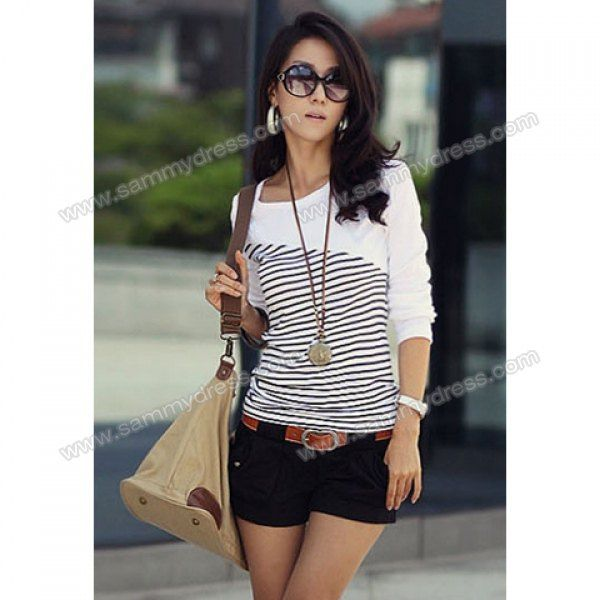 31cffd0b5d2 New Arrival Slimming Scoop Neck Stripes Long Sleeves Navy Style Cotton  Blend T-Shirt For Women (WHITE