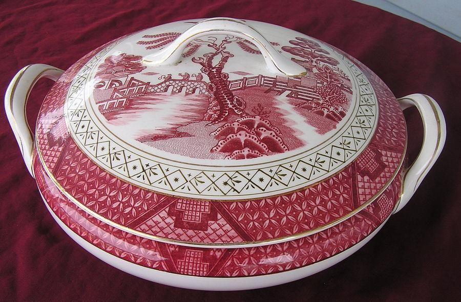 Vintage Red Willow Double Phoenix Nikko Ironstone Serving Bowl