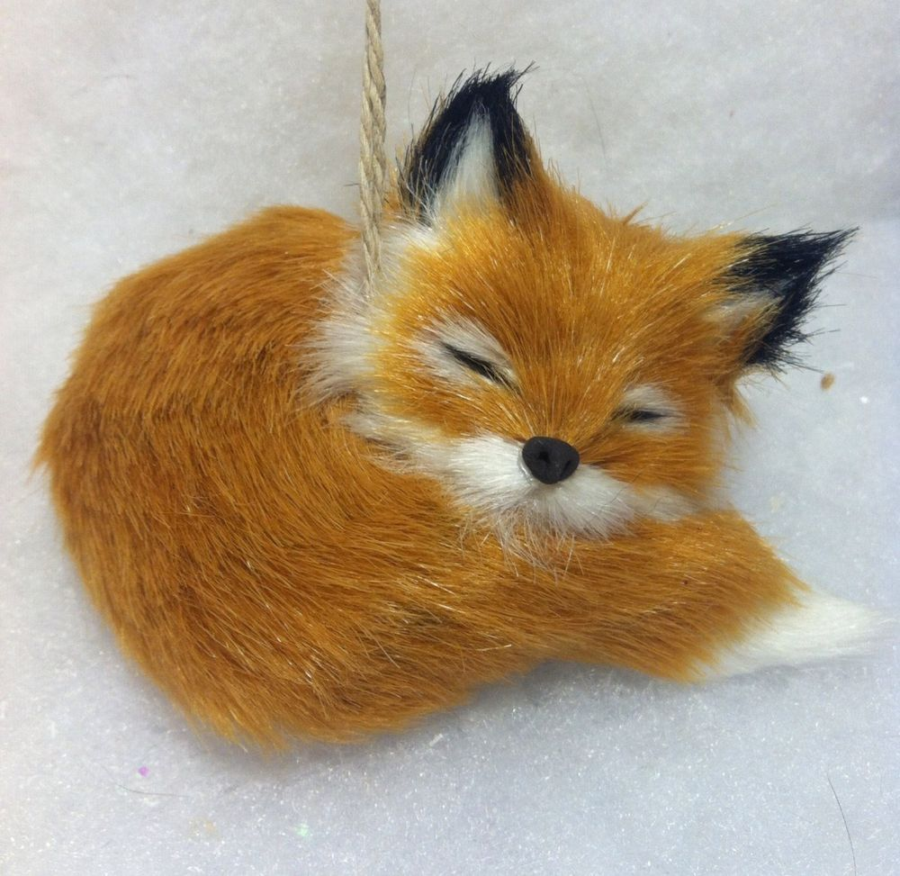 Bottle brush woodland animals - Sleeping Red Fox Woodland Animal Christmas Tree Ornament Faux Fur